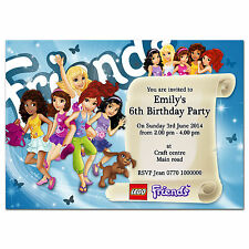 i054; Special Blue Personalised INVITATIONS for Girl, Daughter; Any age or text