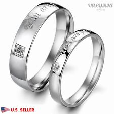 VALYRIA Stainless Steel Silver Lover Couple Wedding Engagement Promise Band Ring