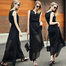 Sexy V Neck Summer Wear To Work Long Maxi Evening Party Chiffon Formal Dress