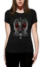 Biker Death Skull Sword Dragon Tattoo gothic clothing  Women T-Shirt Small / /