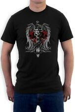 Biker Death Skull Sword Dragon Tattoo gothic clothing  T-Shirt Small / Medium /