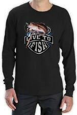 Bass Fishing Top Live To Fish Rod Reel Graphic Long Sleeve T-Shirt Small / /