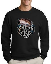 Bass Fishing Top Live To Fish Rod Reel Graphic Sweatshirt Small / Medium / Large
