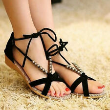 Women shoes Leather Sandal Wedge Strap Lace-up Pearl Chain Flip Size AU 4 5 6 7
