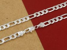 4MM/6MM/8MM/10MM/12MM 925 Solid Sterling Silver-Figaro Chain Necklace 16-30 inch