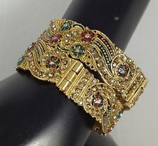 Indian Handmade Jewelry Antique 14 K Gold Plated Bracelets Bangles Meenawork