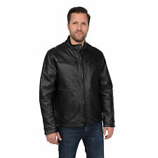 EXcelled Mens Black Leather Scooter Jacket
