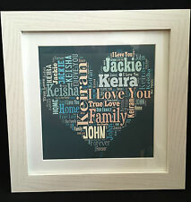Personalised Text Art Word Art Frame Frames You Choose Your Own Text Gift Gifts
