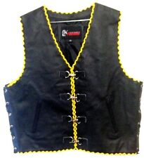 Mens Leather Vest Motorcycle Biker Rider Vest Waistcoat Yellow Hand Braided
