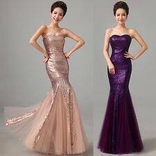 Mermaid Formal Bridal Bridesmaids Gown Evening Prom Long Party Dress Plus Size +