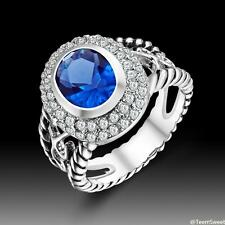 Hot Sweet Friendship Jewelry Sapphire Quartz S80 Silver Ring size 7 8 9