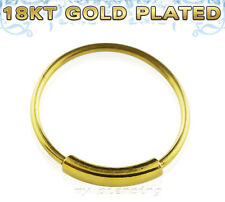 """18K Gold Plated .925 Sterling Silver Endless Hoop Nose Ring 22g 1/4"""" 5/16"""" 3/8"""""""