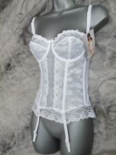 VIRGIN WHITE BRIDAL BASQUE WITH SUSPENDERS SEXY BRIDES LINGERIE VARIOUS SIZES
