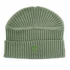 Timberland Unisex Acrylic Green Flat Top Logo Embroidered Beanie Hat One Size