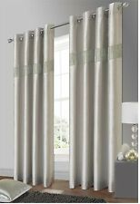 ELEGANT DIAMANTE FAUX SILK RINGTOP EYELET FULLY LINED CURTAINS SILVER COLOUR