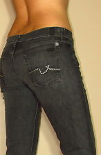 $198 Seven 7 For All Mankind Straight Slim Leg Off-Black Gummy Jeans Crystal 28