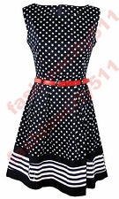 Womens Ladies Star Print 60's Vintage Red Belted Flare Dress Uk Size 8-16