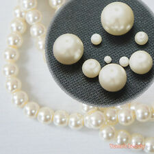 Ivory 3mm - 16mm Glass Pearls Loose Beads Round Accessory Craft DIY
