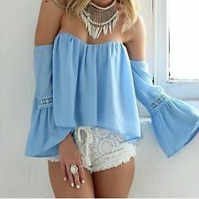 Women's Chiffon Off The Shoulder Flare Sleeve Low Back Peasant Blouse Crop Top