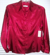 New! Coldwater Creek Shine Shaped Shirt PL 14-16P -OR- XL (18) Red Blouse $79.95
