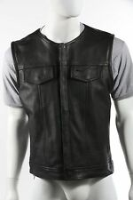 MEN'S MOTORCYCLE SON OF ANARCHY STYLE LEATHER VEST COLLARLESS CLUB VEST BLACK