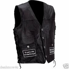 Rock Design Genuine Buffalo Leather Concealed Carry Vest with Patches Motorcycle
