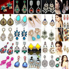 Hot Elegant Women Vintage Style Fashion Rhinestone Dangle Stud Earrings 1 Pair N