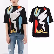New Womens Casual Fashion Black with Colorful Paint Print T-Shirt Tee Tops SML