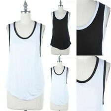 Basic Color Contrast Line Sleeveless Scoop Neck Tank Top Easy Wear Casual S M L