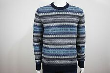 Gap Lambswool Reverse Fair Isle Crewneck Sweater Blue Christmas NWT Size M, L