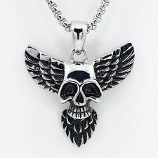 Stainless Steel Angel Wing Skull Pendant Necklace for Men Biker Jewelry necklace