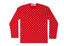 RED DOT  PLAY T-SHIRTS RED HEART COMME Des GARCONS CDG UNISEX LONG SLEEVE.