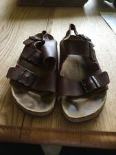 Birkenstock 39  Brown THICK PEBBLED LEATHER Milano Strap Sandals L8 M6