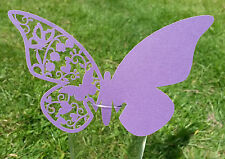 Butterfly / Heart Textured Glass Laser Cut  Wedding Place Name Cards