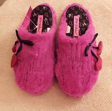 Betsey Johnson slippers scuff faux fur fuzzy sequin heart pink S NWT