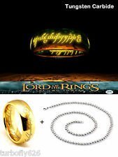"8mm Lord of the Rings Hobbit ""The One Ring"" Laser Engraved 18K Plated Tungsten"