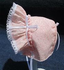 """Pink Floral with 1/4"""" Looped White Satin Ribbon Bows & Ties Baby Bonnet"""