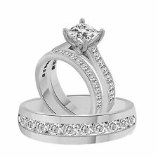 3.66Ct Princess Cut Engagement Ring w/ Matching Band In 925 or 10k or 14k Gold