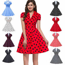 Vintage 40's 50's Polka Dot Rockabilly Pinup Housewife Cocktail Prom Party Dress
