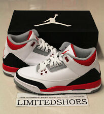 NIKE AIR JORDAN 3 III RETRO GS FIRE RED WHITE 398614-120 cement black blue iv xi