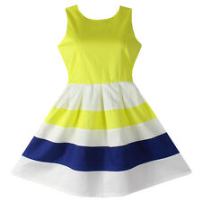 Girls Dresses Yellow Striped Cotton Party Pageant School Uniform Child Clothing