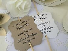 Personalised Sparklers covers wedding favours tags