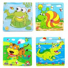 Cartoon Animal Patterned IQ Develop Puzzles Wooden Kid Child Colors Jigsaw Toy
