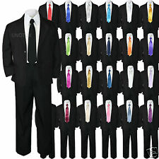 5pc Baby Boy Toddler Kid Party Wedding Formal Party Suit Black w/ Extra Tie S-7