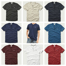 NWT Abercrombie & Fitch A&F 2015 Men Muscle Fit Henley Tee T Shirt By Hollister