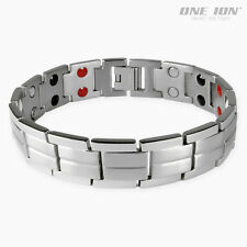 ONE ION Silver Force Titanium 4-in-1 Power Bracelet Magnetic Ion Balance Band