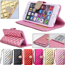 Luxury Bling Quilting Wristlet Wallet Card Holder Case for Samsung/Apple iPhone