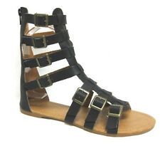 WOMEN'S NEW GLADIATOR MULTI BUCKLE STRAPPY CAGED FLAT BACK ZIPPER SANDALS SHOES