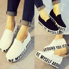 Womens High Platform Elevator Shoes Fashion Sneakers Canvas Slip-on Casual Shoes