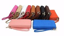 Fashion Double Zipper Muti Organizer Women Cellphone Wallet